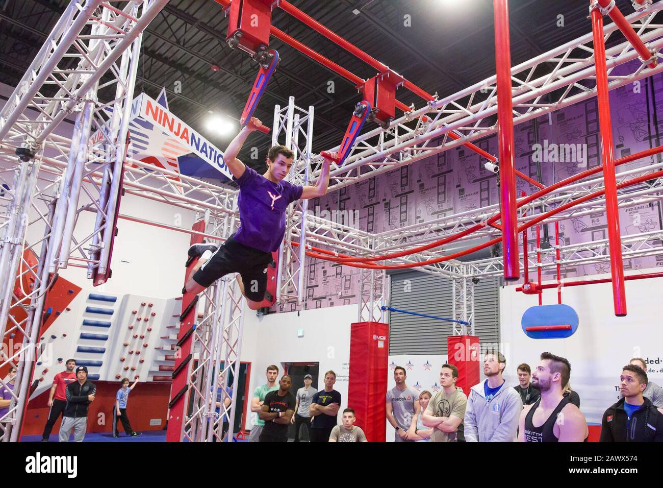Dallas, USA. 9th Feb, 2020. A participant takes part in the Ninja Nation Competition in Dallas, the United States, on Feb. 9, 2020. Credit: Dan Tian/Xinhua/Alamy Live News Stock Photo