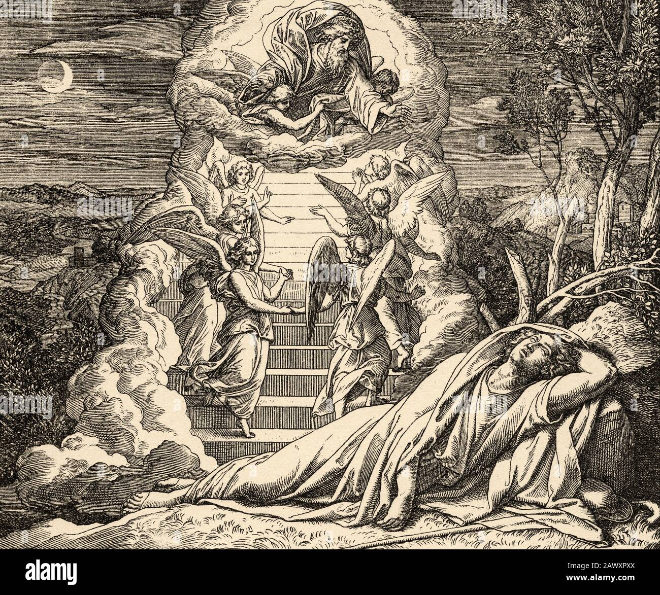 Genesis. Jacob dream that there was a ladder resting on the earth whose upper end reached as far as the sky and the angels of God went up and down it. Stock Photo