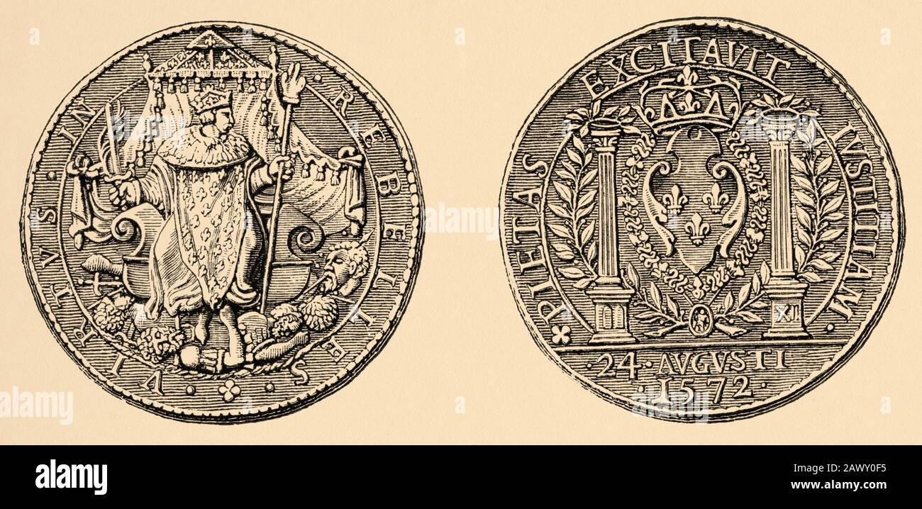 Commemorative medal night of St. Bartholomew commanded by Charles IX of France. History of Philip II of Spain. Old engraving published in Historia Stock Photo