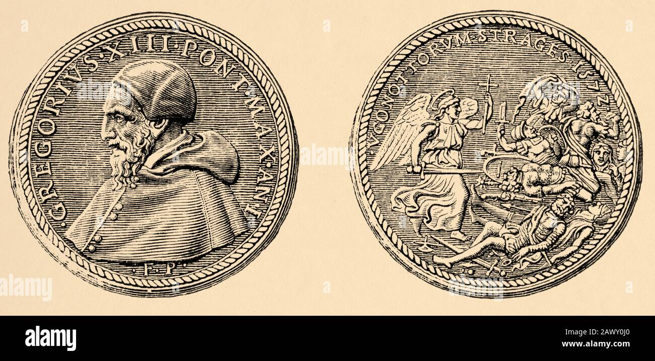 Commemorative medal of St. Bartolome night commanded by Pope Gregory XIII. History of Philip II of Spain. Old engraving Stock Photo