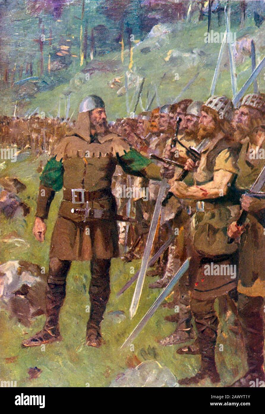 BATTLE OF SEMPACH 9 July 1386. Petermann of Gundoldingen rallies his Swiss soldiers as they prepare to face Leopold III, Duke of Austria's army Stock Photo
