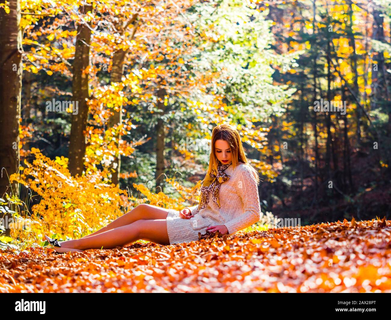 Autumn in forest teen girl sitting reclined on ground full length whole body sideview side-view serious looking down hand holding fallen leaves Stock Photo
