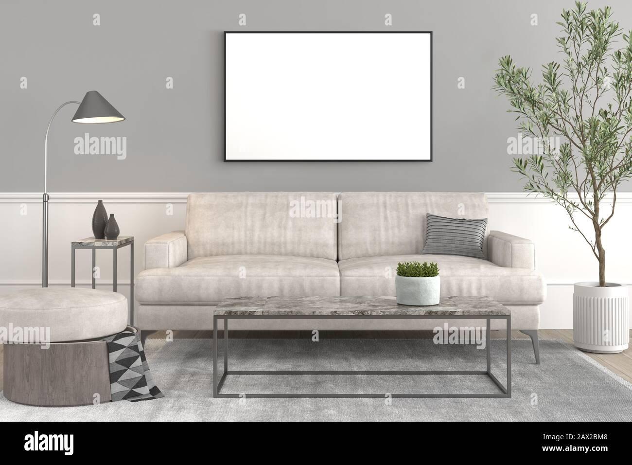Interior Design Setup Modern Elegant Living Room With Leather