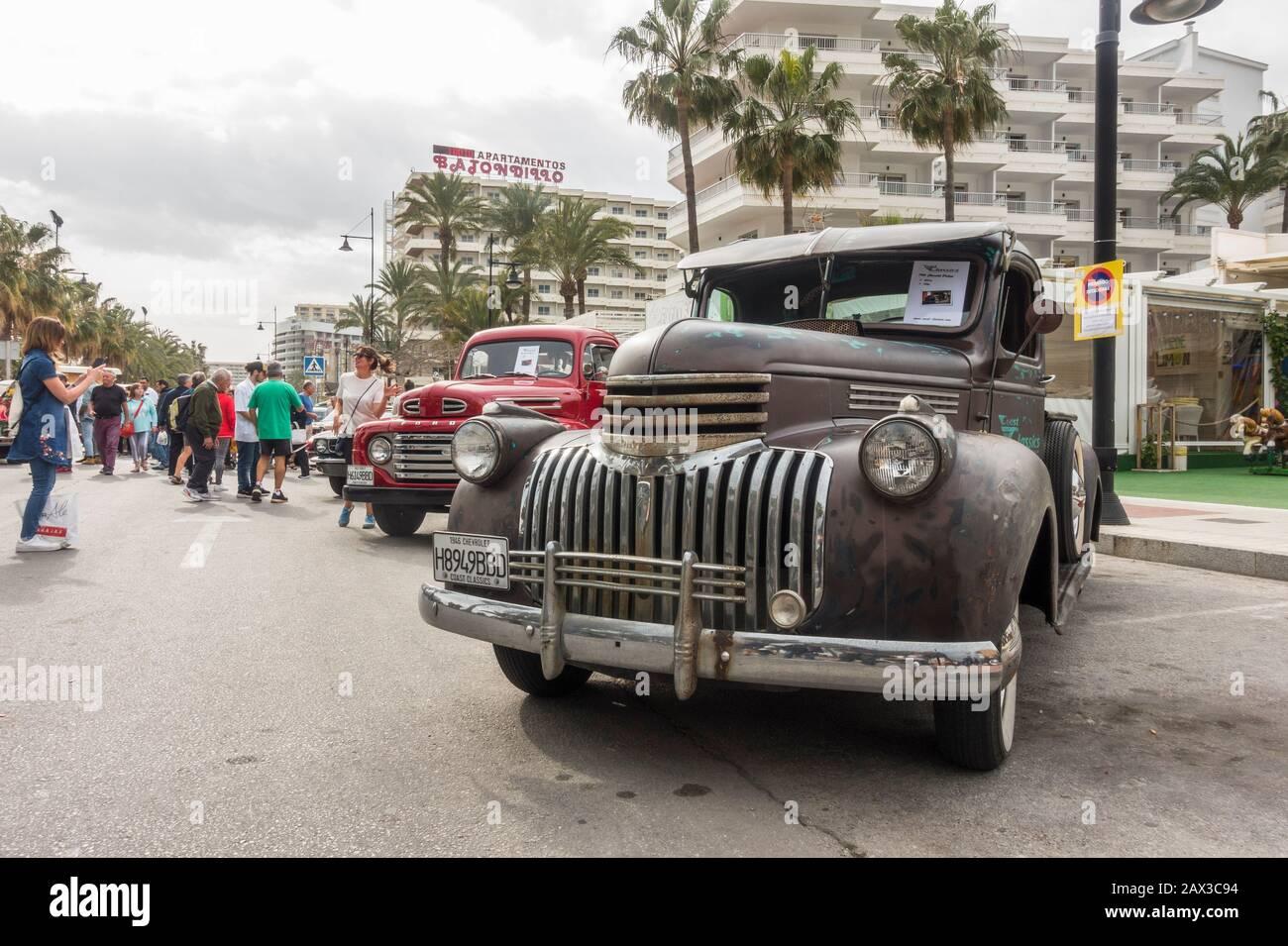 1946 Chevrolet Pickup Truck Chevy 350 700R4, on display during street festival. Torremolinos, Spain. Stock Photo