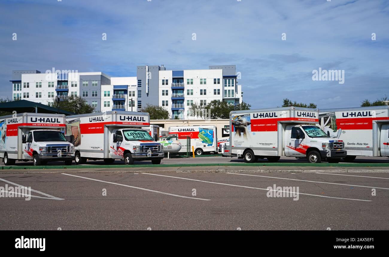 ST PETERSBURG, FL  24 JAN 2020  View of rental trucks from U Haul