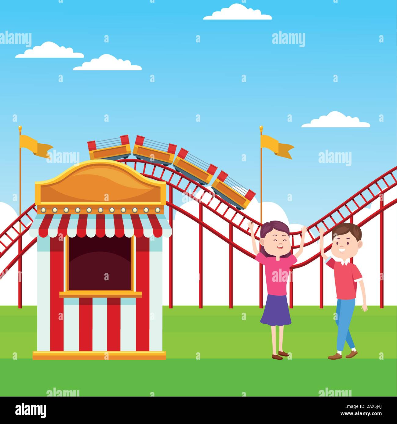 Cartoon Happy Couple In The Fair Next To Ticket Booth Over Roller Coaster And Landscape Background Stock Vector Image Art Alamy