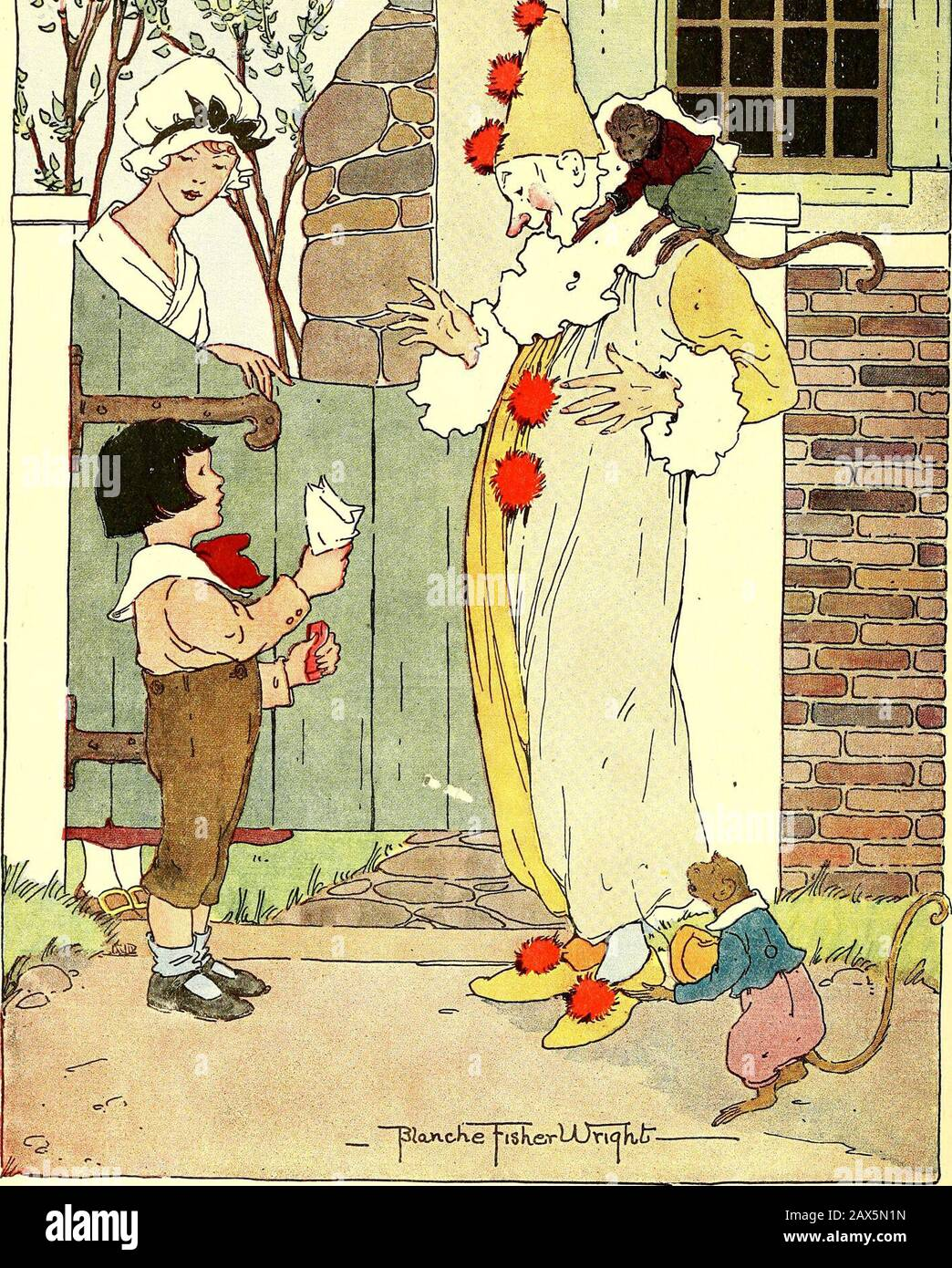 The Peter Patter book; rimes for children . gSSKSTT^ w. ILL TREAT THE CLOWN UP ON THE GARDENGATE Set me up on the garden gateAnd put on my Sunday tie;I want to be thereWith a round-eyed stareWhen the circus band goes by. Give me a bag of sucker- ettesAnd give me a piece of gum,Then I 11 get downAnd treat the clown,And give the monkey some. MOST ANY CHIP Most any chip Will do for a ship, If only the cargo be Golden sand From the beautiful land Of far-off Arcady. For faith will waft The tiny craft O er Fancys shining sea. Stock Photo