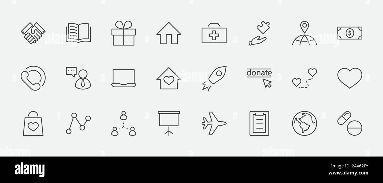 International Day for the Poor Vector Line Icons Set. Contains such Icons as Heart, planet Earth, Handshake, money, Donate, Medicines, Plane and more. Stock Vector