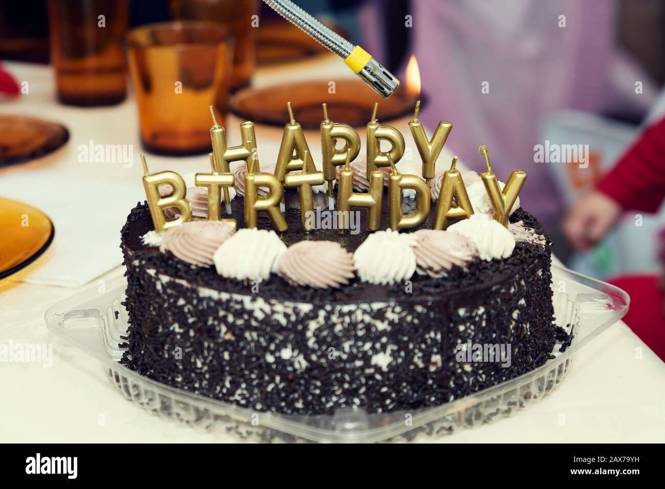 Miraculous Happy Birthday Lit Candles On Chocolate Cake Selective Focus Stock Personalised Birthday Cards Veneteletsinfo