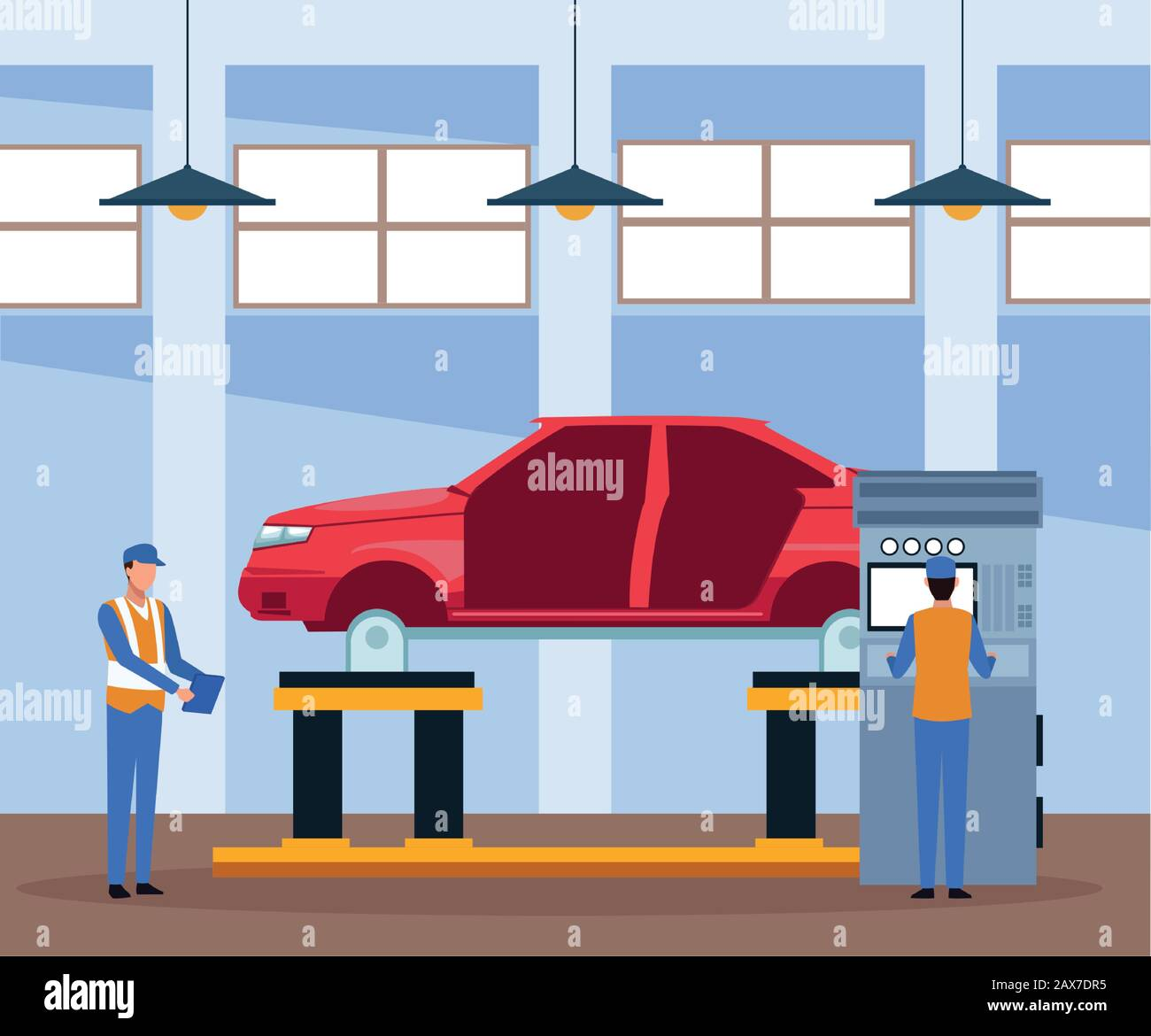 Car Repair Shop Scenery With Mechanics And Lifted Car On Machine Stock Vector Image Art Alamy