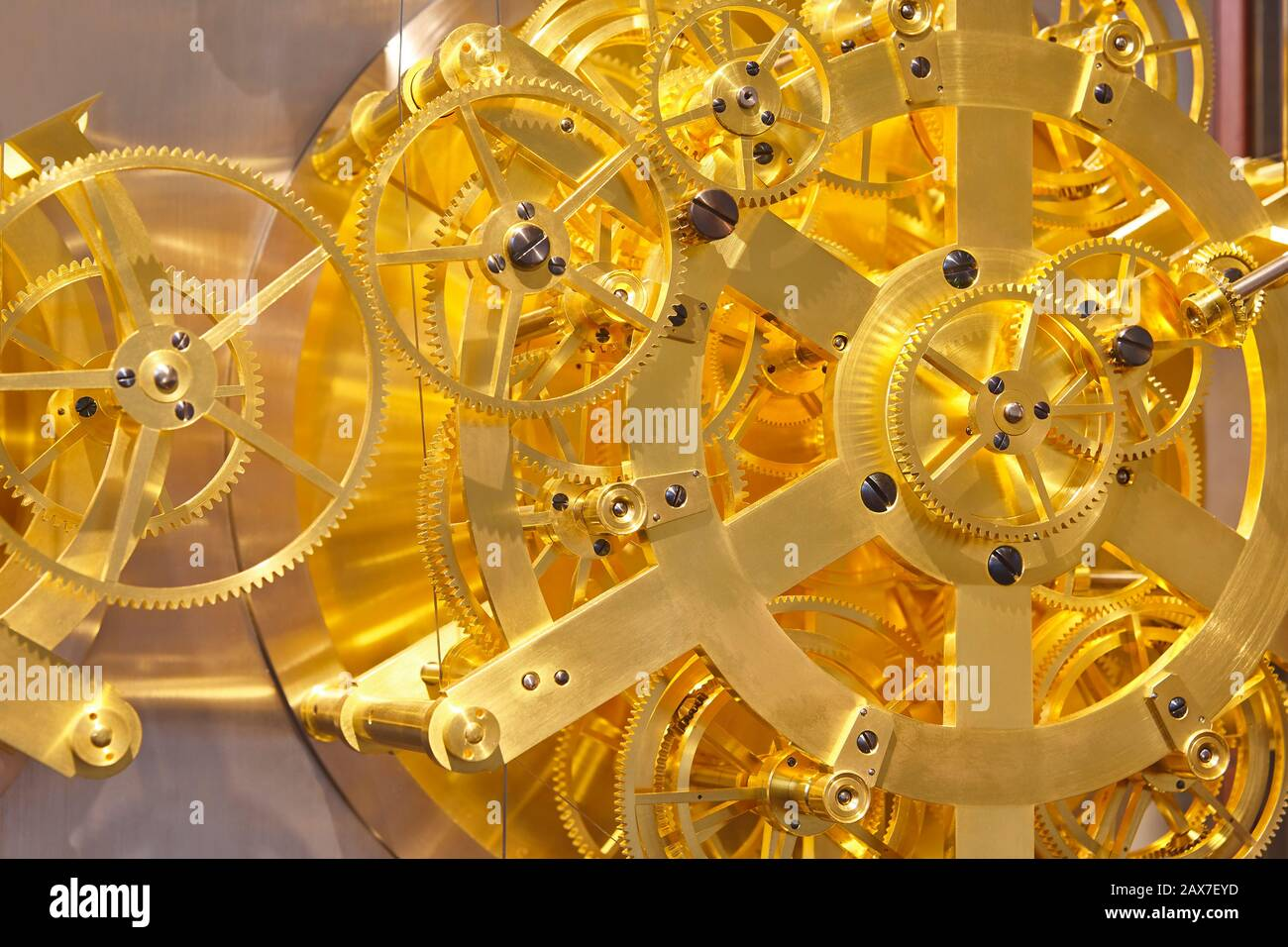 Clockwork mechanism detail. Jen Olsen world clock. Copenhague, Denmark Stock Photo