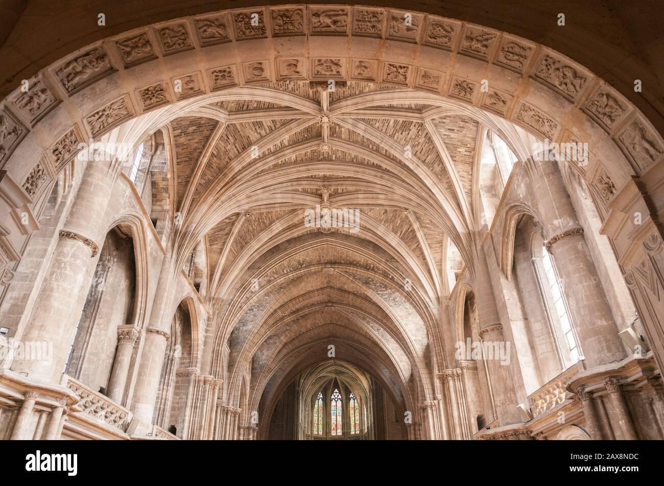 Interieur, Kathedrale von Bordeaux, Bordeaux, Aquitaine, Frankreich Stock Photo