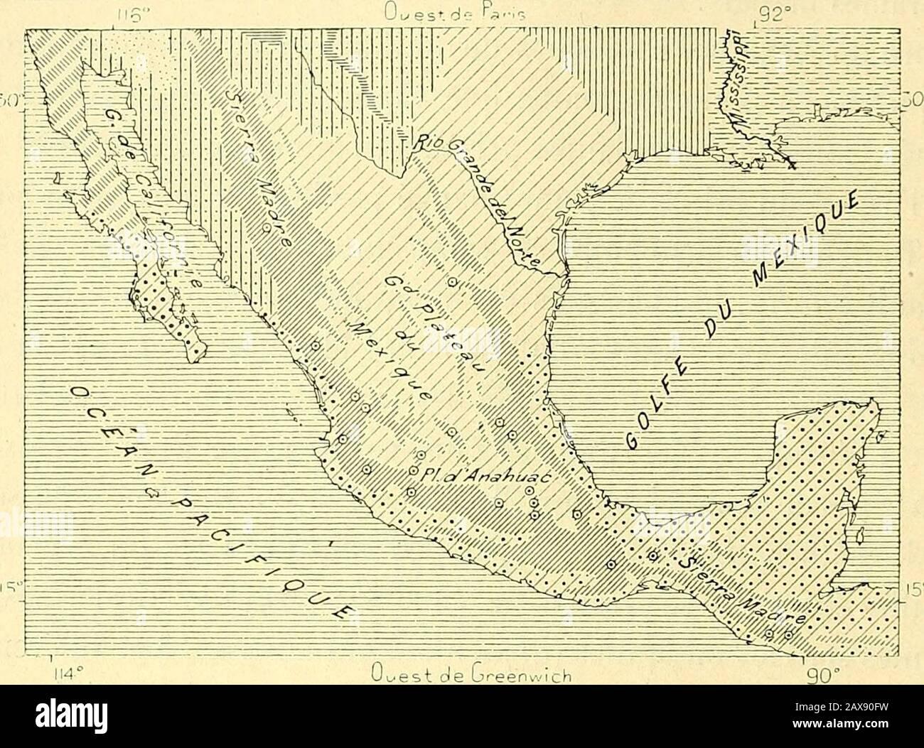 Nouvelle géographie universelle : la terre et les hommes . e » donnée dansces régions à de vastes étendues boisées. Le nom de chaparral, qui enréalité ne devrait sappliquer quà des fourrés de chênes-rouvres, est égale-ment employé pour les étendues broussailleuses par les Mexicains dunord. Cest un terme analogue à celui de « garrigue » dont on se sert dansle Languedoc oriental; en langage ordinaire tout maquis est un chaparral,même là où dominent les mezquites et les grands cactus. 1 Froebel, Seven Years in Central America. 78 NOUVELLE GEOGRAPHIE UNIVERSELLE. Si ce nest au bord des ruisseaux o Stock Photo