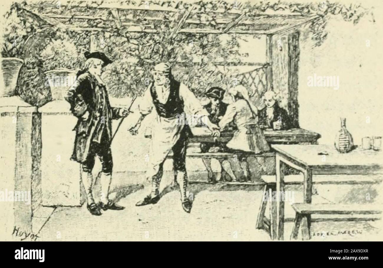 Candide; ou, L'optimisme; . I ^^ï^^i. XXIV De Raquette ol de frère Giroflée. Dès quil tut à Venise, il lit chercher (lacnmho danstous les cabarets, dans tous les cafés, che/ toutes lesfilles de joie, et ne le trouva point. 11 envoyait tous lesjours à la découveite de tous les vaisseaux et de toutesles barques : nulles nouvelles de Cacambo. « — Quoi îdisait-il à Martin, jai eu le lenips de passer de Surinamà Bordeaux, daller de Bordeaux à Paris, de Paris àDieppe, de Dieppe à Portsmoulh. de côtoyer le Portugalet lEspagne, de traverser toute la Méditerranée, depasser quelques mois à Venise, et la Stock Photo