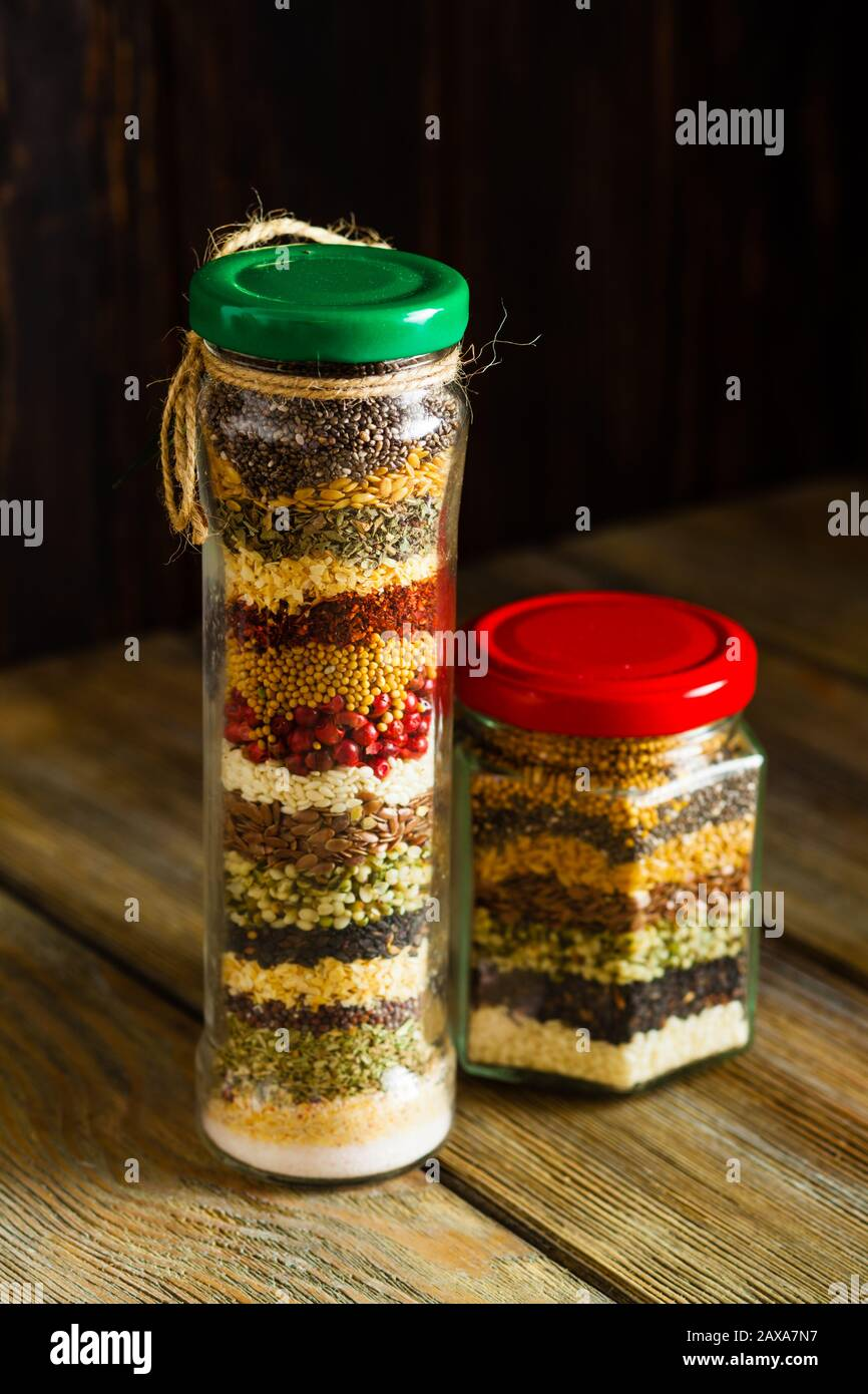 Glass Jars With Colored Herbs And Spices Decoration Bottles For