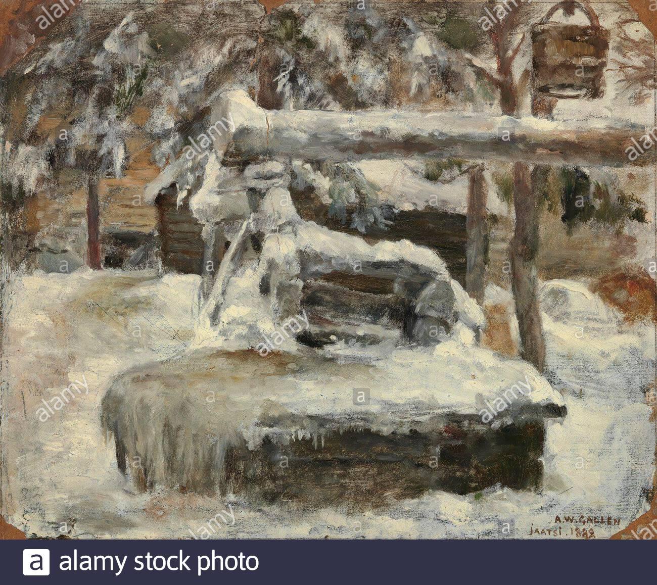 """""""Finnish:  Luminen pihamaaSnowy Courtyardtitle QS:P1476,fi:Luminen pihamaa label QS:Lfi,Luminen pihamaa label QS:Len,Snowy Courtyard; 1882; """" Stock Photo"""
