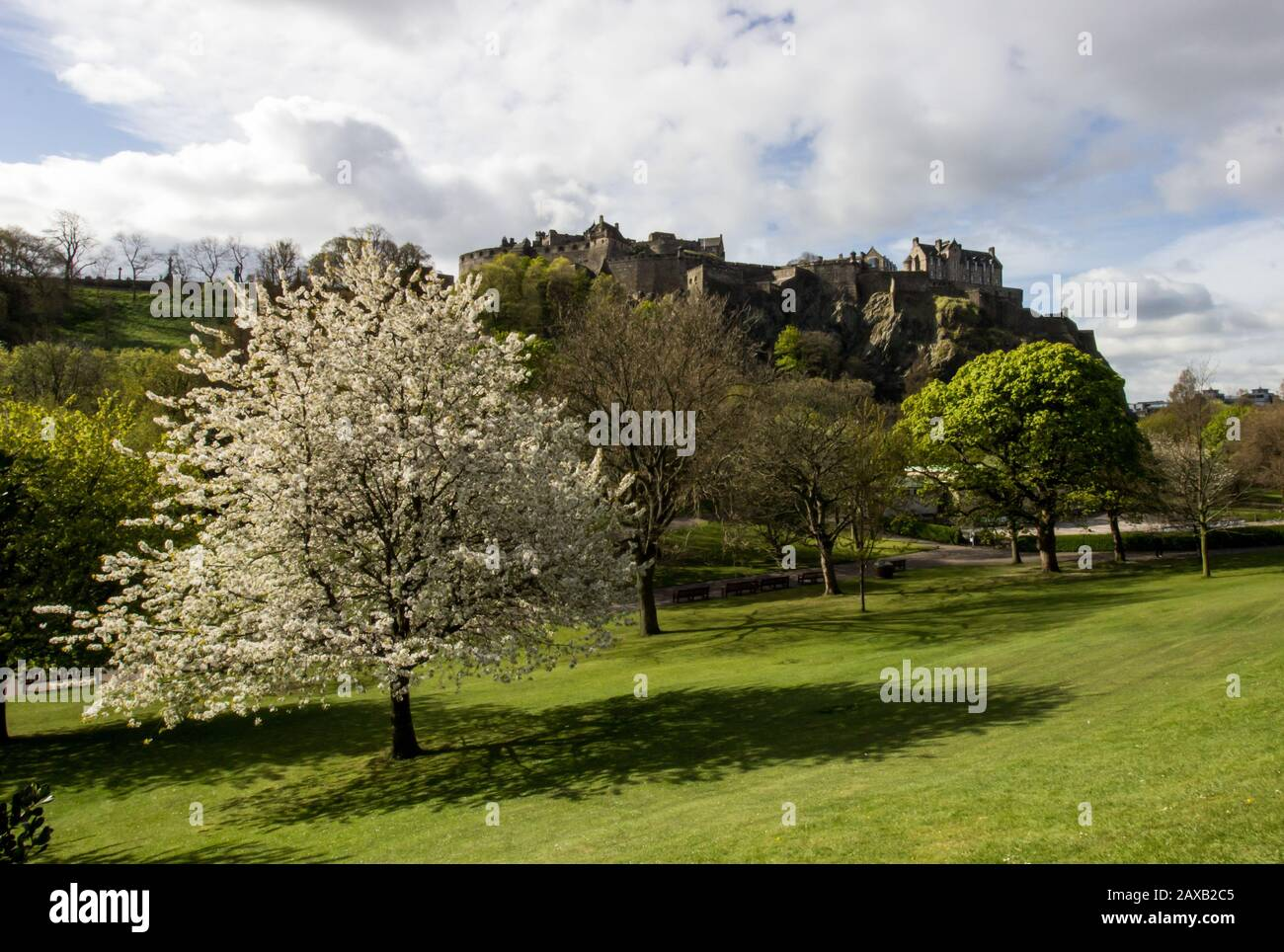 Edinburg Castle looking out over Princess Street Gardens in spring, photographed on a sunny day in the early morning. Stock Photo