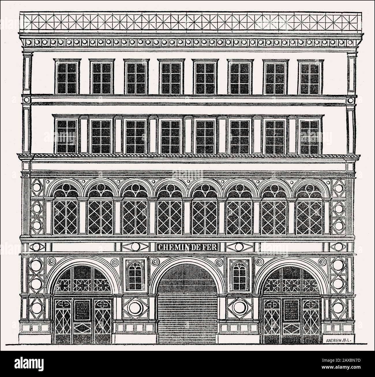 The planned facade of Madeleine station, Rue Tronchet, Paris, France, 1830s Stock Photo