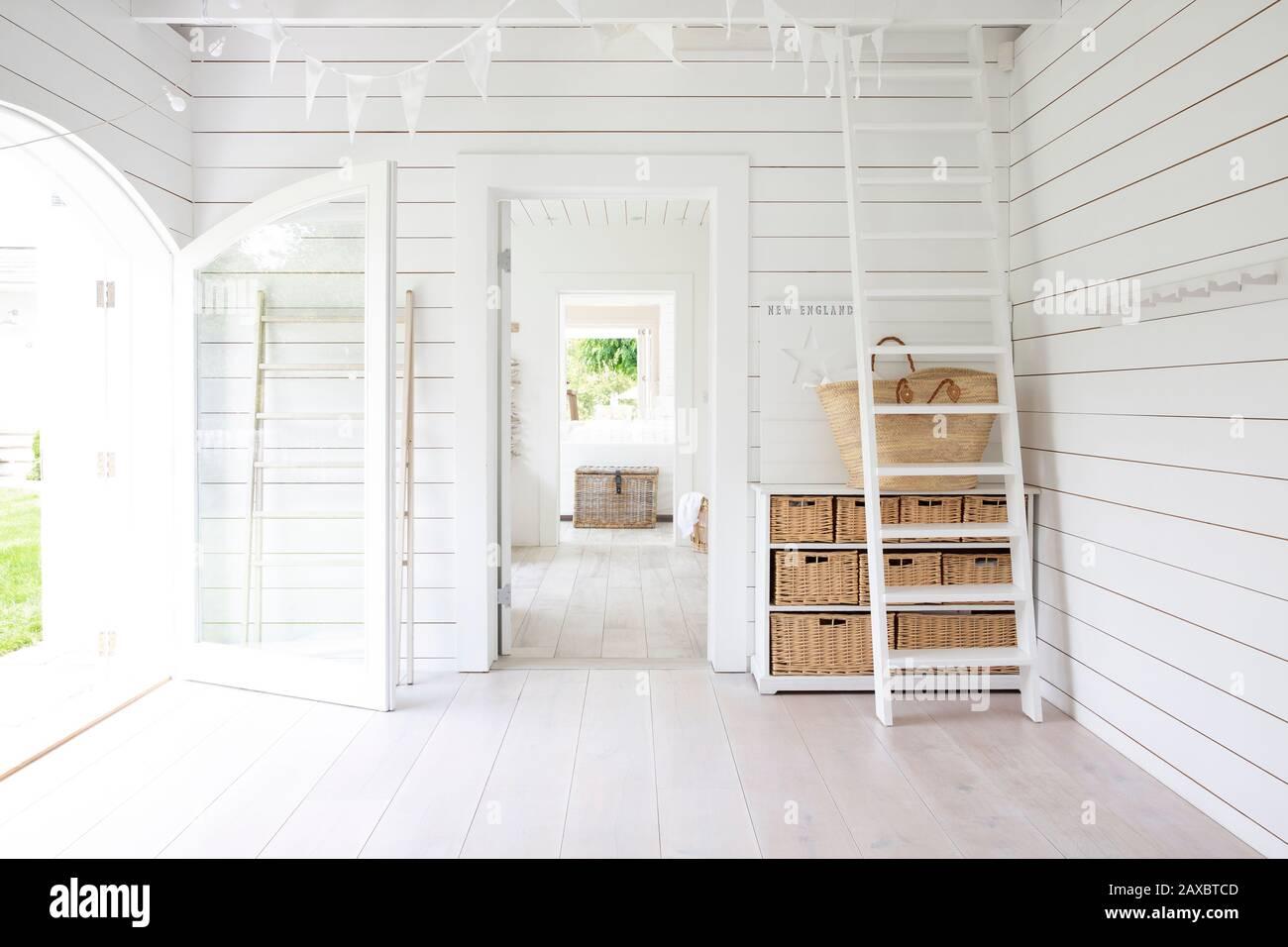 White wood shiplap beach house room Stock Photo