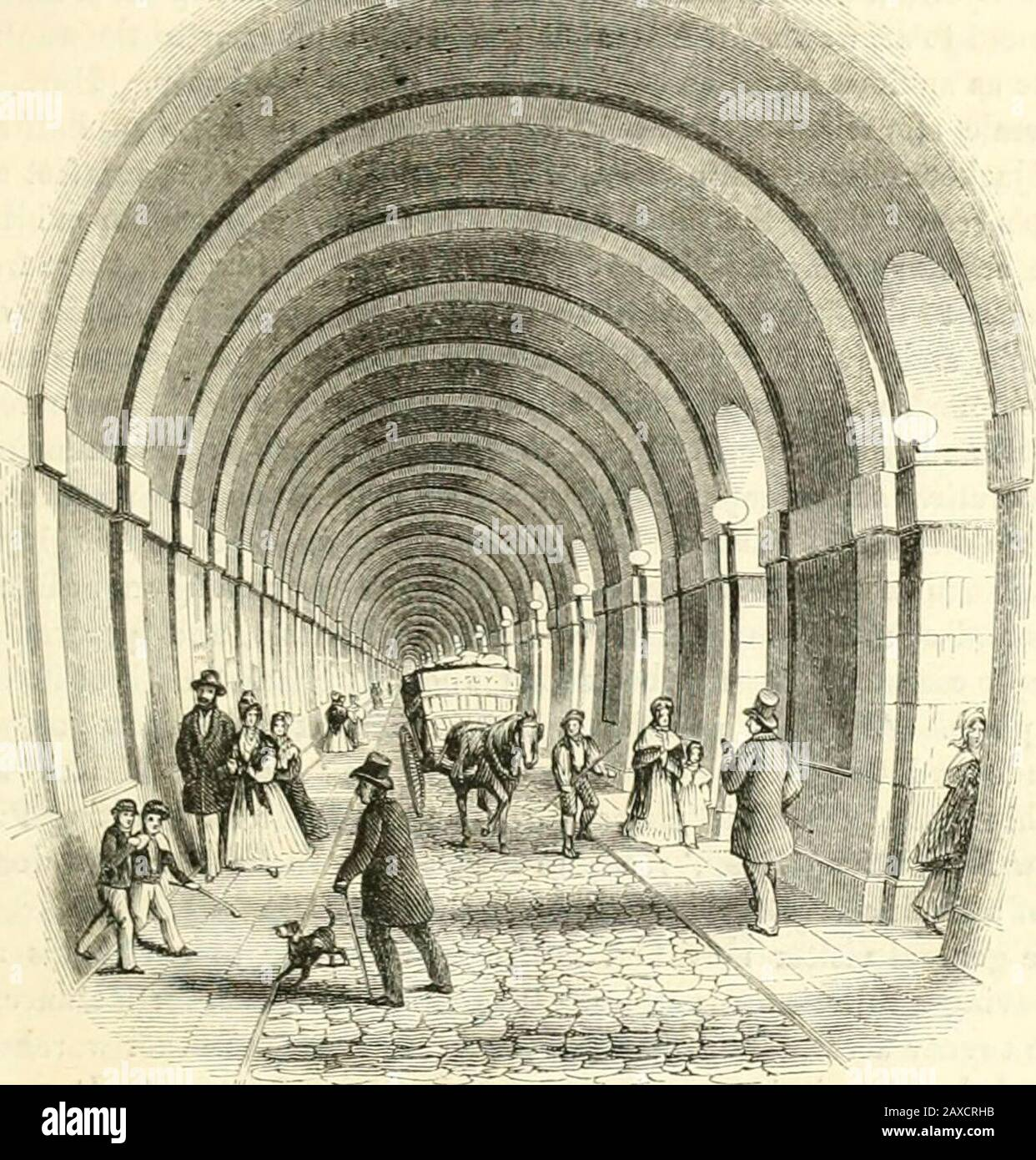 London . [Process of Coining.]. [View in iho Tunnel.] LIV.—THE THAiAlES TUNNEL Whatever Wapping may appear to the eyes of landsmen, to the British sailor itis, without douLt, a region of romance ; a place to think about when—having beenlong tossed on some still vexed sea, or, more intolerable annoyance, becalmedon some far-stretching dead waste of waters—his heart yearns towards home ; andthe spot, made so familiar to him by the songs and stories he most delights in,—the spot where he has so often first touched English ground after many monthsabsence,—rises to his imagination decked in fairer Stock Photo