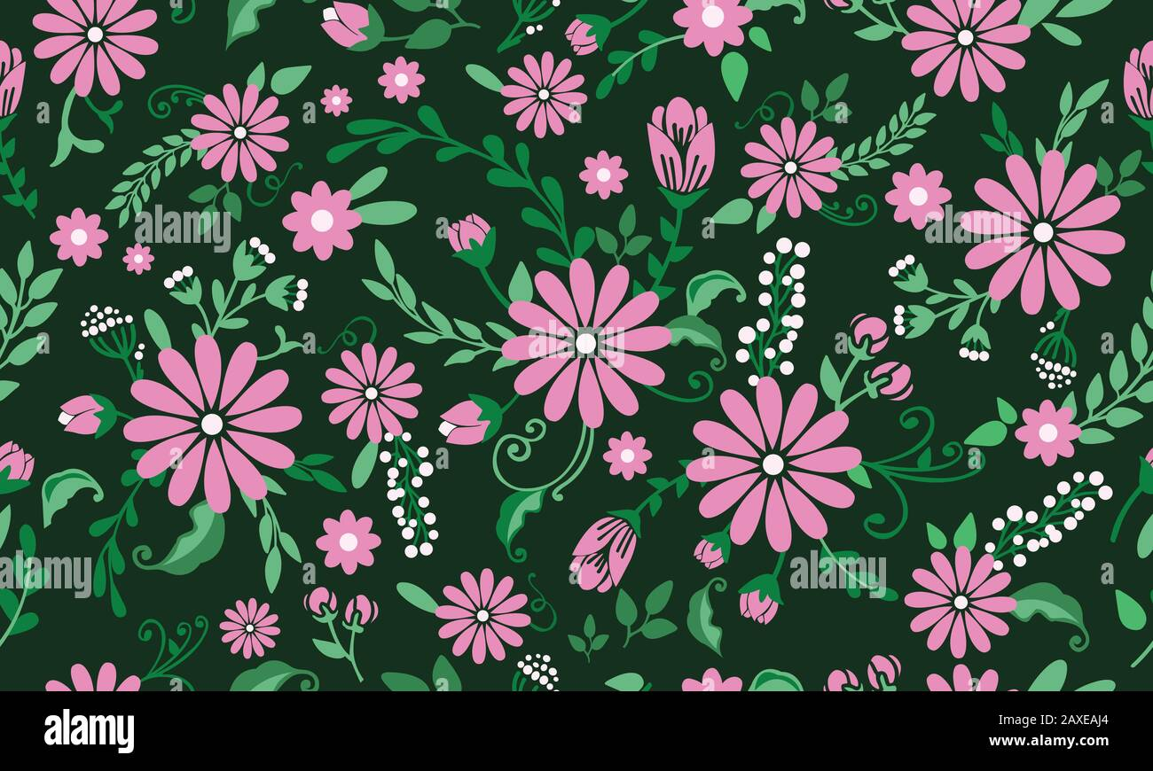 Seamless Motif Of Spring Floral Background With Leaf And Flower