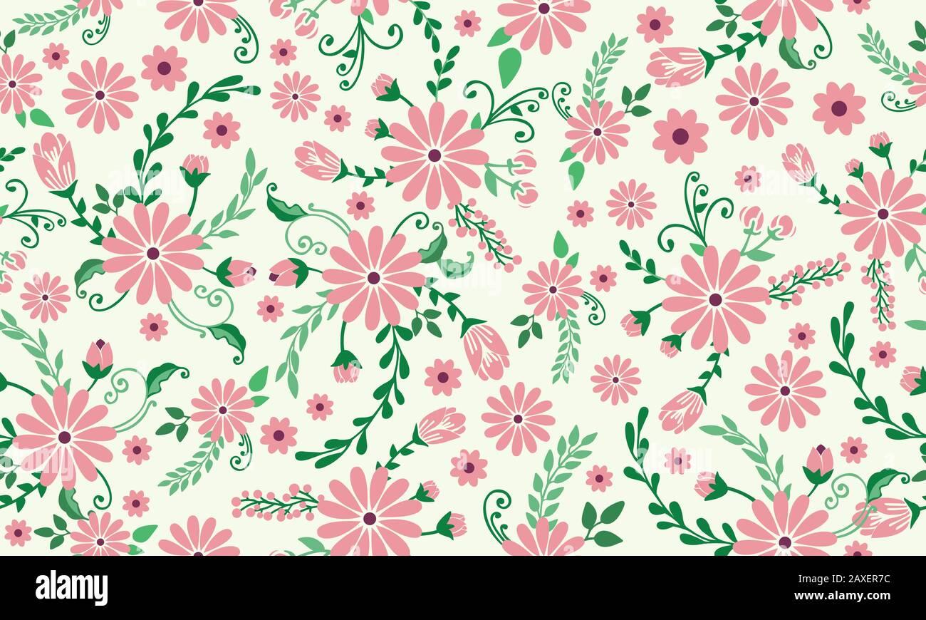 Elegant Spring Floral Pattern Background With Leaf And Flower