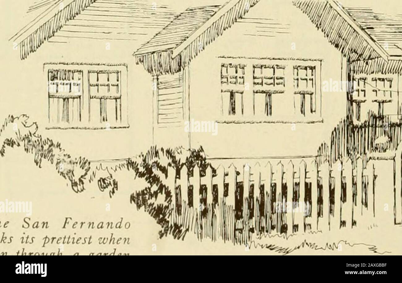 Homes of character. . The San Fernandolooks its prettiest zvhenseen through a gardengate like this one. Stock Photo