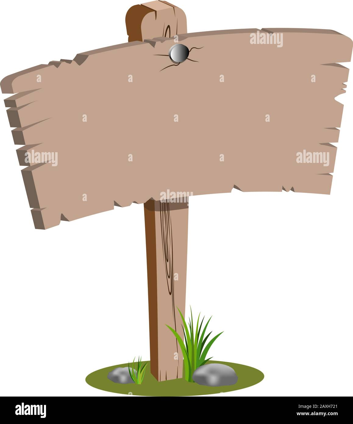 Wooden cartoon vector blank sign poster isolated on white. Cartoon illustration of old wooden tree with green grass and nice stones on the bottom. Goo Stock Vector