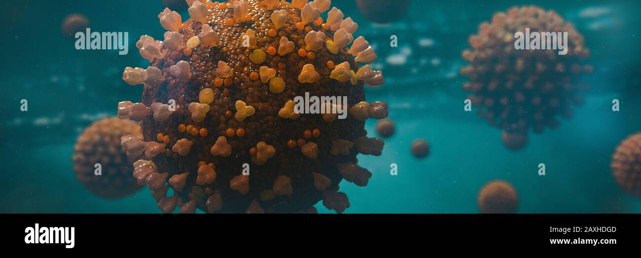 contagious coronavirus, health threatening viruses in liquid environment, microbiology close up scene Stock Photo