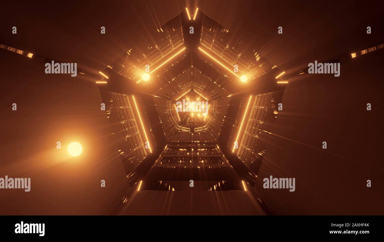 3d illustration background wallpaper with beautiful glowiing spheres fly through abstract 5 corner tunnel with cool reflections graphic artwork 2AXHF4K