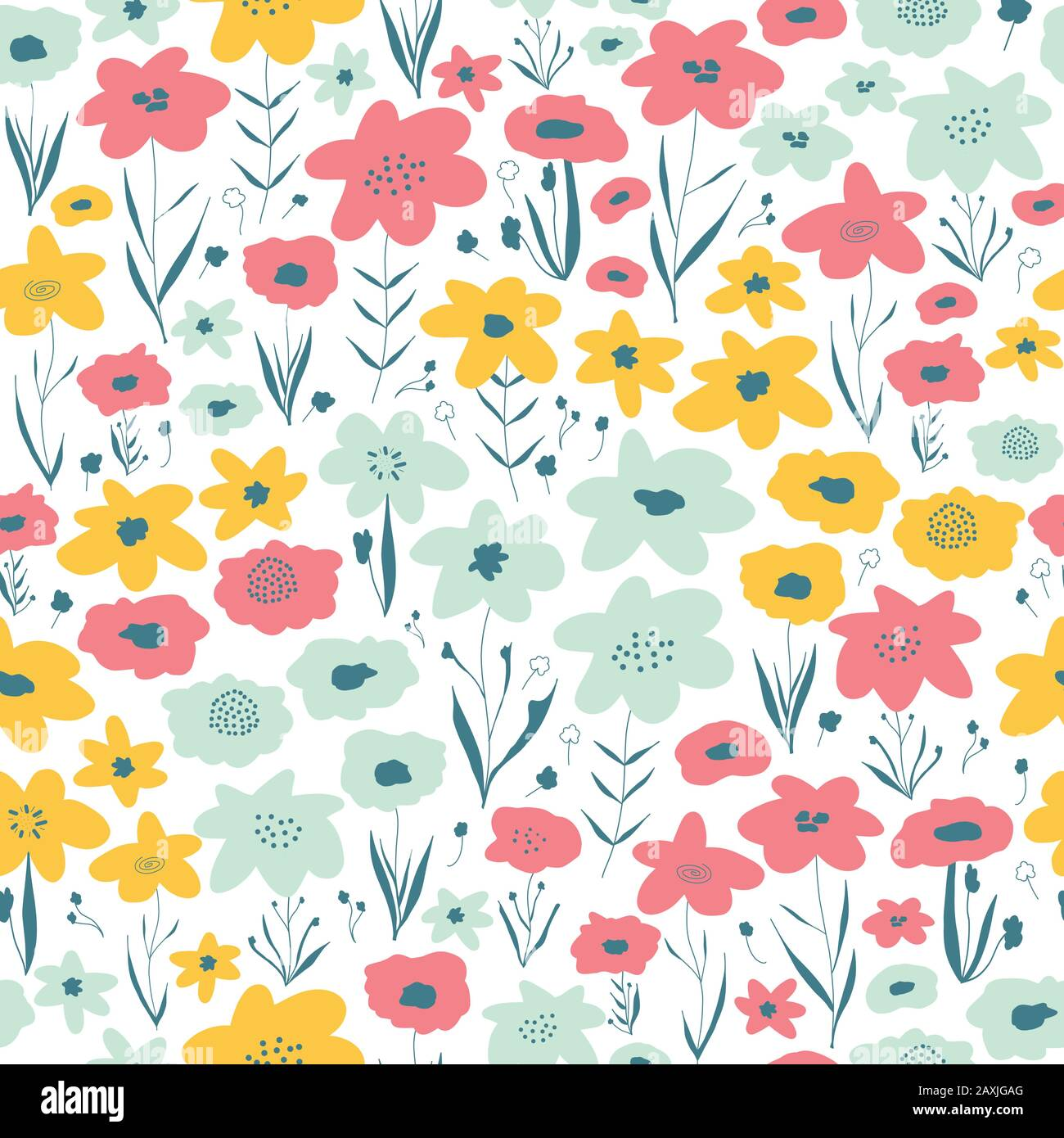Spring Flower Meadow Seamless Vector Pattern Blue Pink Yellow