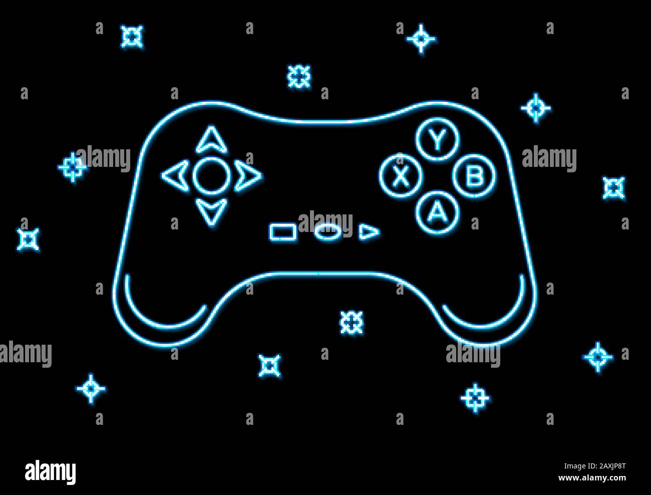 Neon Game Sign On Black Background Blue Light Arrow Cursor Icon Retro Night 80s Neon Gaming Style Controller Keys With Direction Cross On And Off B Stock Vector Image Art