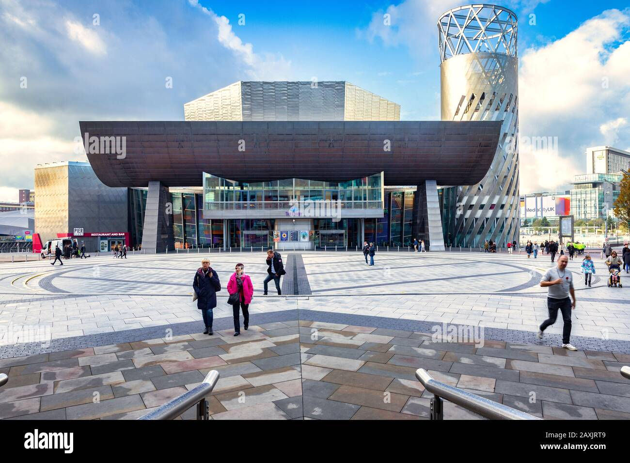 2 November 2018: Salford Quays, Manchester, UK -  The Lowry, the gallery and museum complex celebrating the life of L.S. Lowry. It was designed by Jam Stock Photo