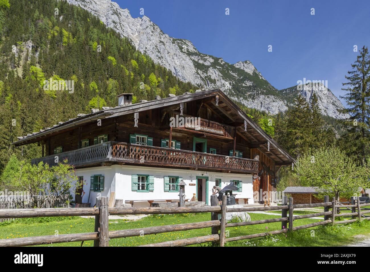 National Park information centre Klausbachhaus, valley Klausbachtal in Hintersee, Ramsau, Berchtesgaden Alps, Berchtesgadener Land, Upper Bavaria, Bav Stock Photo