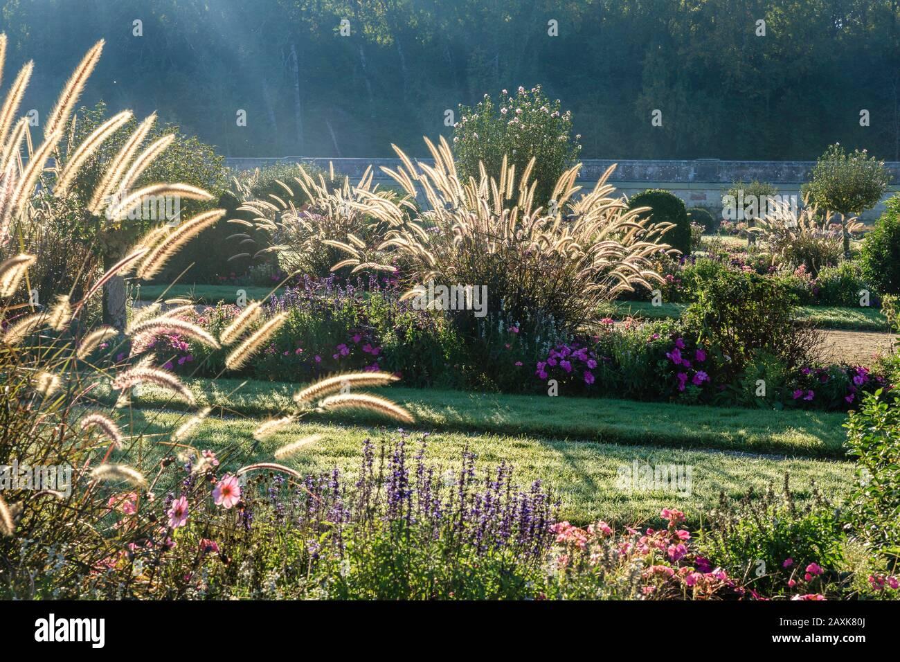 France, Indre et Loire, Loire Valley listed as World Heritage by UNESCO, Chenonceaux, Chateau de Chenonceau Park and Gardens, the Jardin de Diane de P Stock Photo