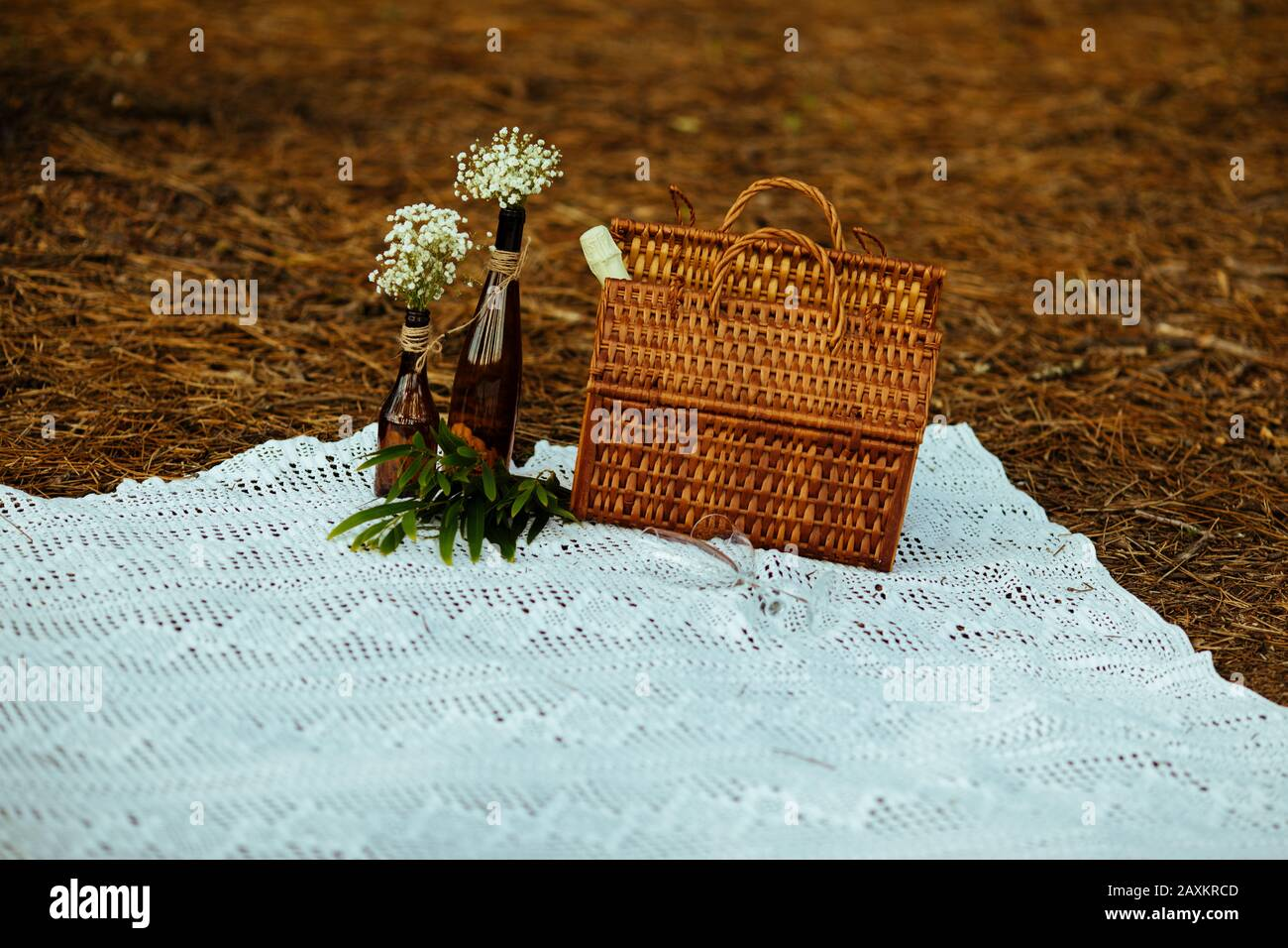 Wicker Picnic Basket In The Forest With Autumn Tones Over A Vintage Lace Blanket Romantic Date Stock Photo Alamy