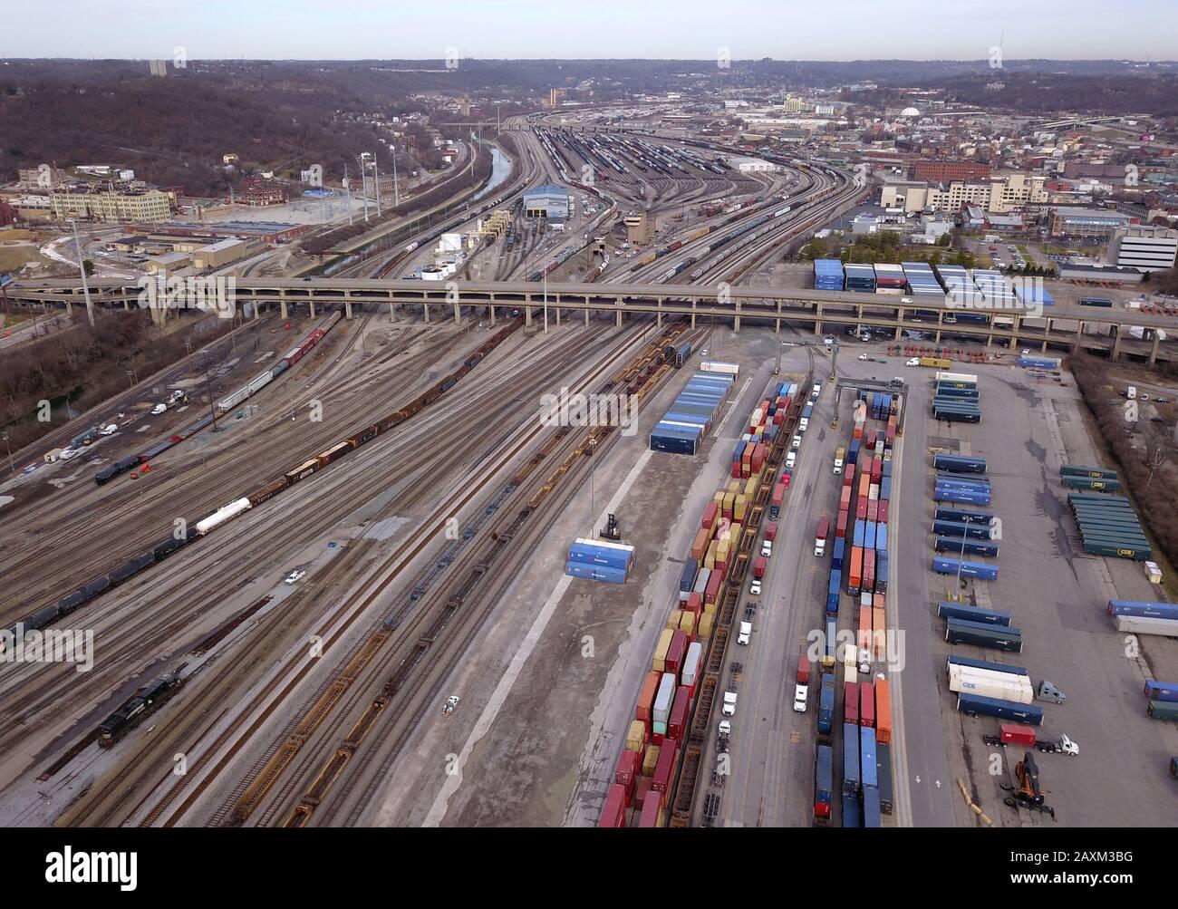 Drone aerial Train rail yard Cincinnati OHio usa Stock Photo