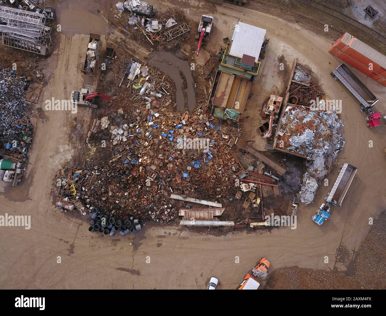 Drone aerial Metal scrapyard recycling Cincinnati Ohio USA Stock Photo