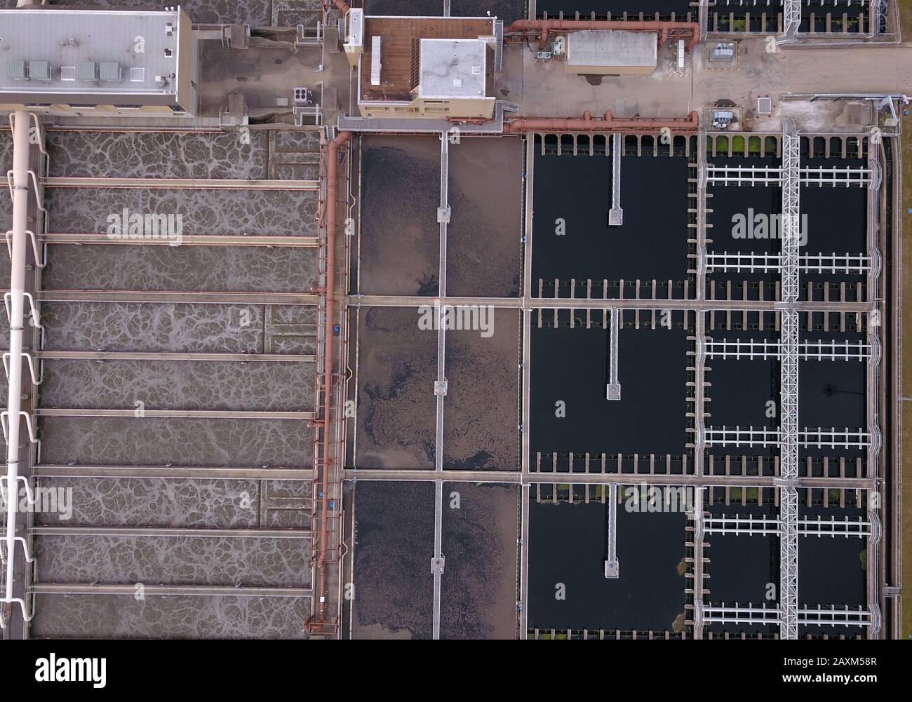 Drone aerial Sewage wastewater treatment ponds plant Cincinnati Ohio USA Stock Photo