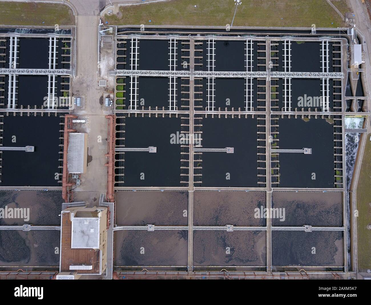 Drone aerial Sewage wastewater treatment ponds plant Cincinnati Ohio USA Stock Photo