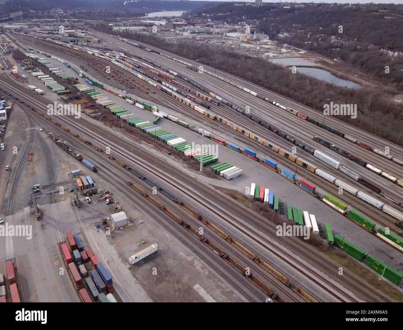 Drone aerial train rail yard  Cincinnati Ohio Stock Photo
