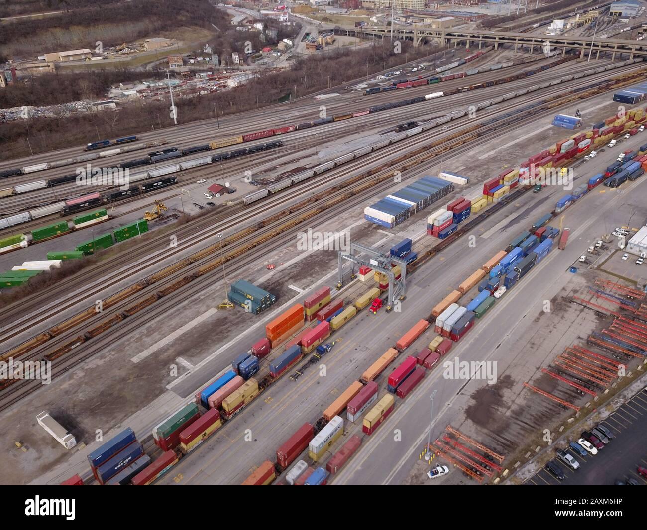 Drone aerial Container truck loading train rail yard  Cincinnati Ohio Stock Photo