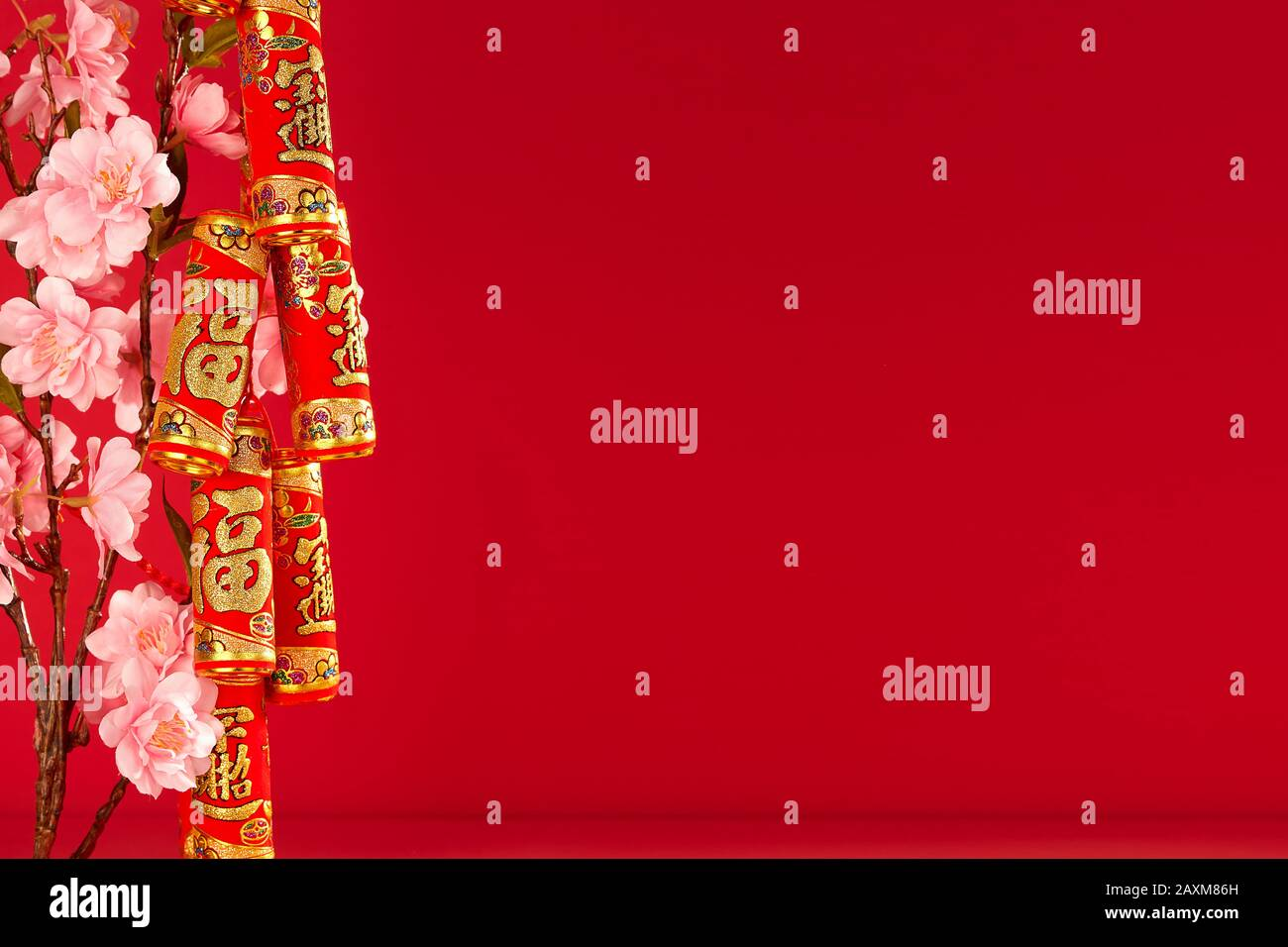 """Chinese new year festival.Celebration Chinese new year or lunar new year.Chinese New Year Decoration.Text space images. (with the character """"fu"""" meani Stock Photo"""