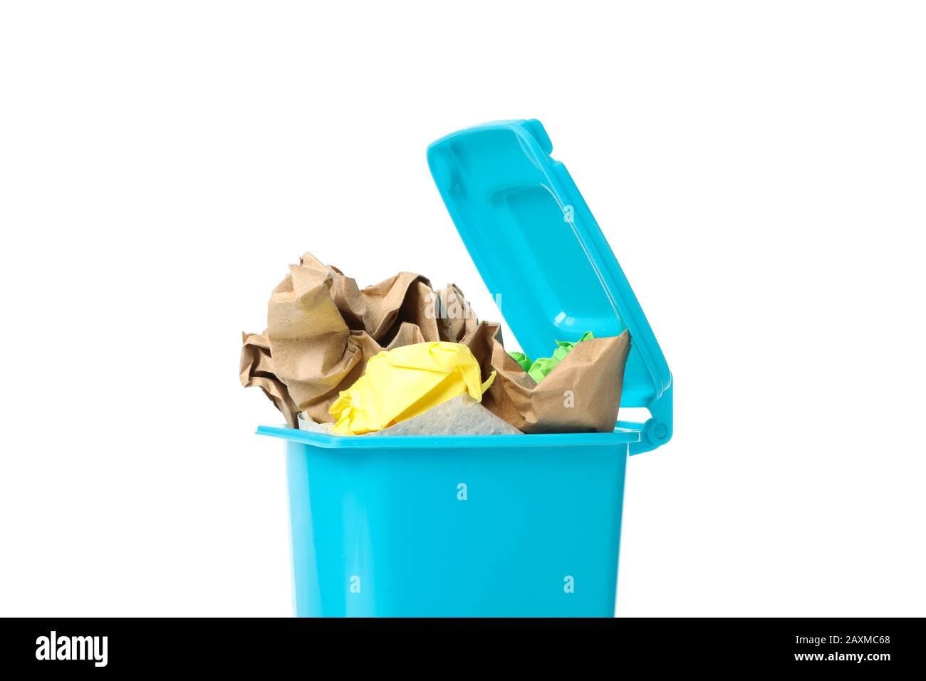 Recycle bin with trash isolated on white background Stock Photo