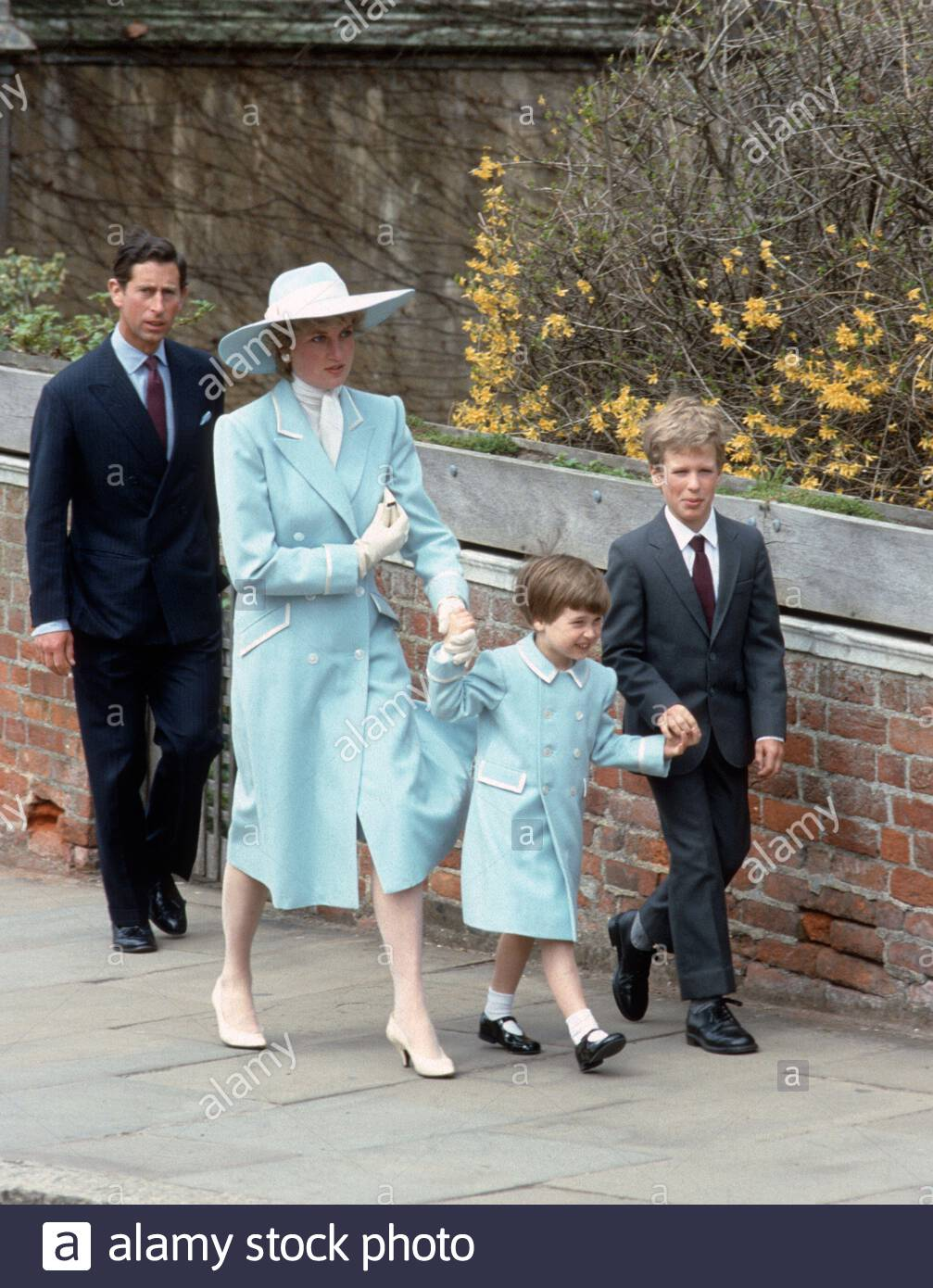Diana Princess of Wales.Prince Harry.Prince William Colour 1991 Postcard