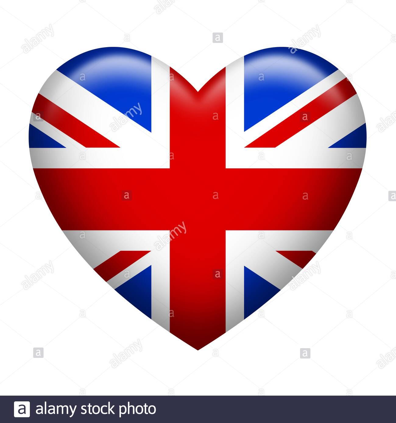 Heart shape of United Kingdom flag isolated on white Stock Photo