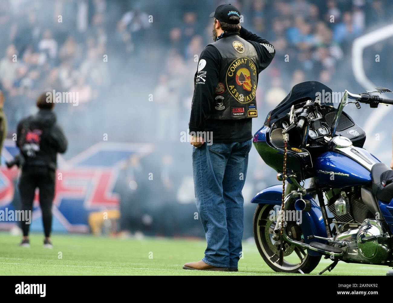 Arlington, Texas, USA. 9th Feb, 2020. Combat Vet's Association member solutes the flag during the national anthem at the XFL game between St. Louis Battlehawks and the Dallas Renegades at Globe Life Park in Arlington, Texas. Matthew Lynch/CSM/Alamy Live News Stock Photo