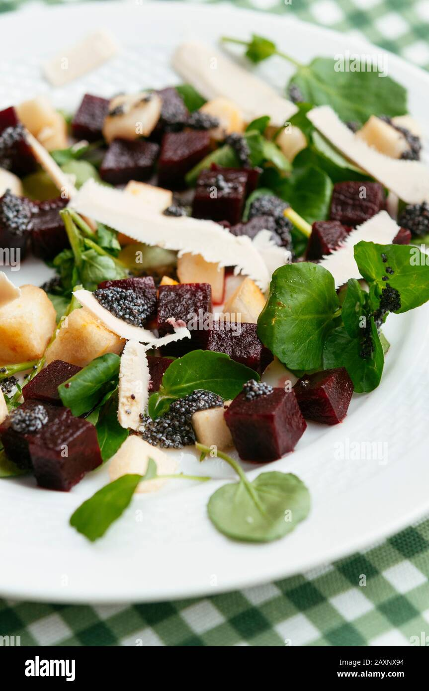 Beet and pear salad on watercress with a poppy-seed dressing and soy cheese. Stock Photo