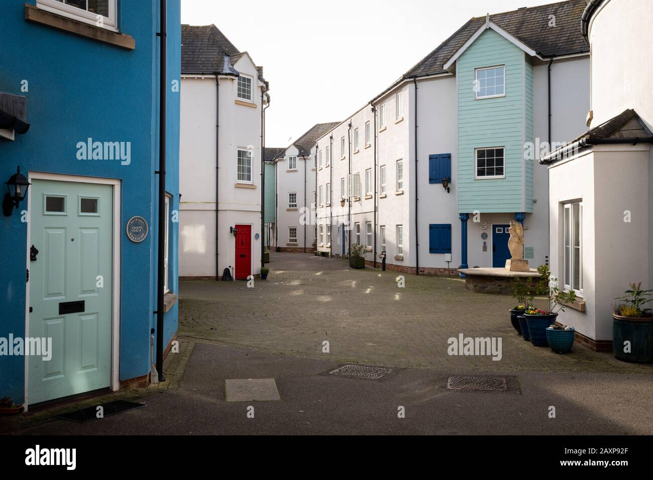 Portishead, England UK: Cheerful coloured cottages by The Barbican in the old part of town. Stock Photo