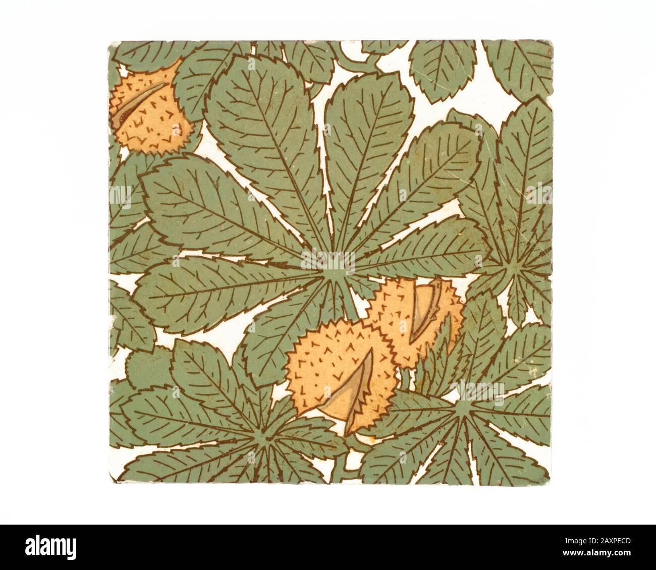 Antique 1880s Minton Aesthetic Movement Horse Chestnut Pottery Tile Stock Photo Alamy